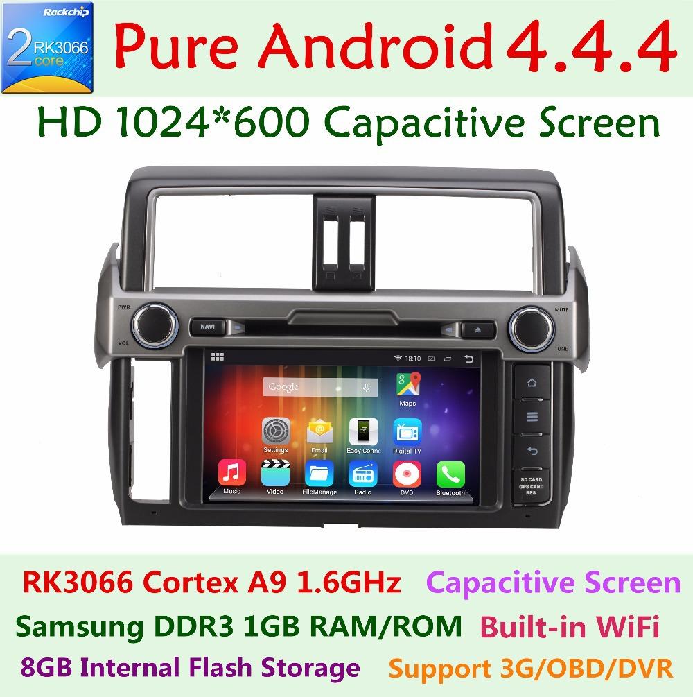1024*600 Android 4.4.4 Car DVD Player for Toyota Prado Land Cruiser LC150 150 2014 Dual Core 3G WIFI Radio GPS Navigation system(China (Mainland))