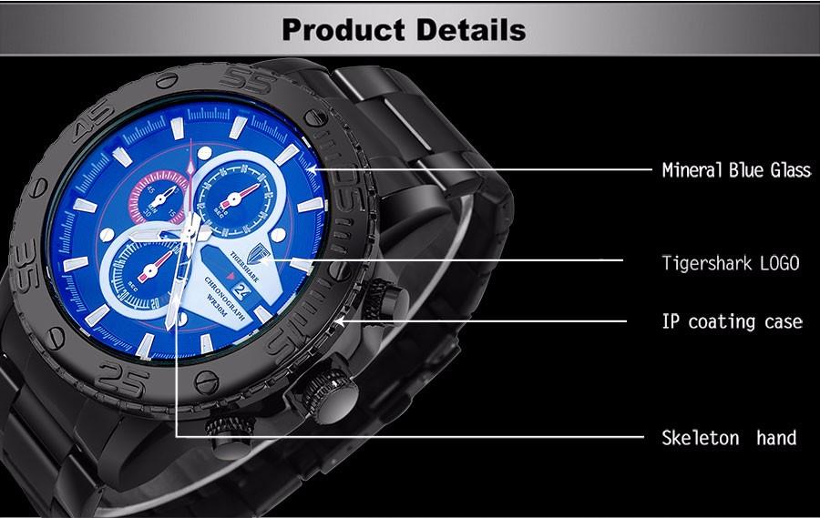 2016 новый TIGERSHARK марка световой черный красный набор часы мужчины спорт хронограф 30 м водонепроницаемый дата из нержавеющей стали наручные часы