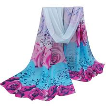 New Design Women Beautiful Rose Pattern Chiffon Shawl Wrap Wraps Scarf Scarves free shipping O27(China (Mainland))
