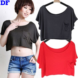 Modal T Shirt Summer Style Emoji Crop Top High Quality Cotton T Shirt Women Tops Loose Casual Cropped Tops Clearance Clothes DF