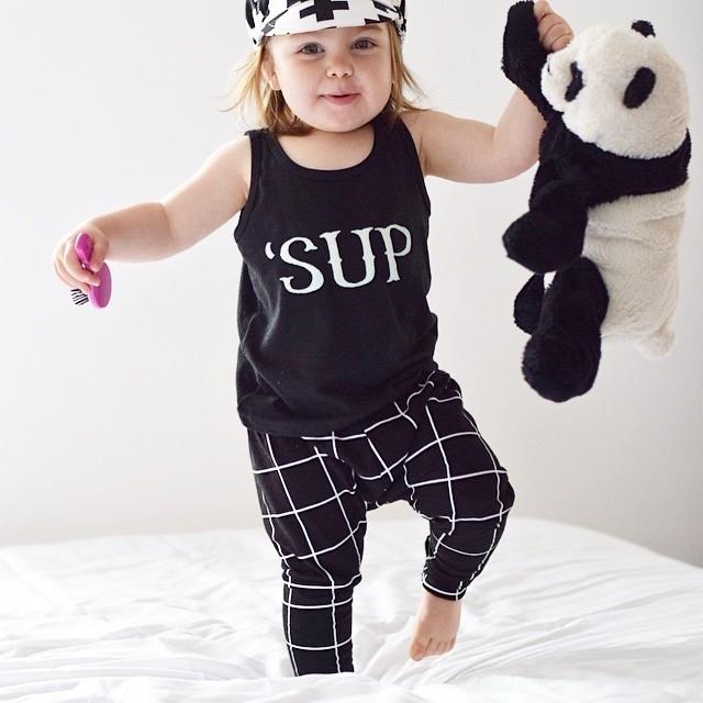 Новый 2016 летний ребенок мальчик девочки комплект одежды унисекс печати топ + брюки ...