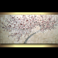 Hand Painted Landscape Modern Palette Knife thick oil painting Canvas White Pink Cherry Wall Decor Living