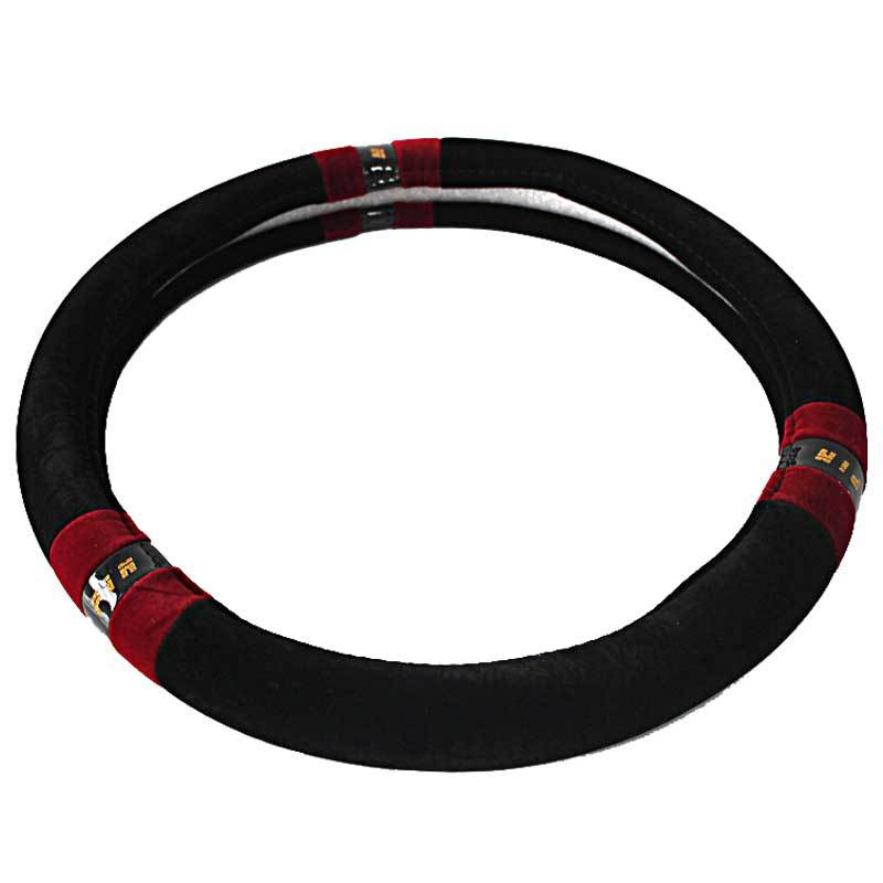Black Mianrong Plush Car Steering Wheel Cover General Auto M Size 38cm Soft Winter Wheels Free Shipping(China (Mainland))
