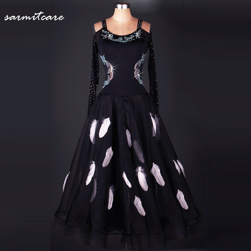 Здесь можно купить  O Neck V Back Sleeveless Black with White Feather Print Shinning Rhinestones Ballroom Dancing Dress for Women - D070  Одежда и аксессуары