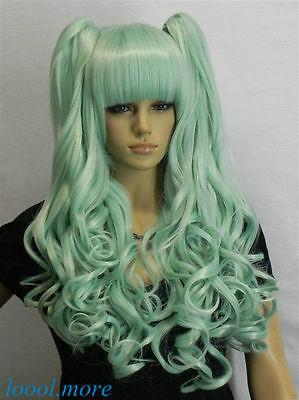 Lolita Light blue Mixed Long Wavy bangs Split Cosplay Wig (B0320)<br><br>Aliexpress