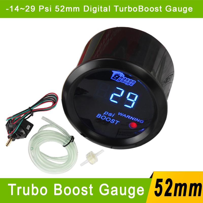 2'' 52mm Car Digital Boost Gauge -14~29 PSI Meter With Sensor Black Blue LED For Auto Gauge Car PSI Turbo Boost Meter Gauge 52mm(China (Mainland))