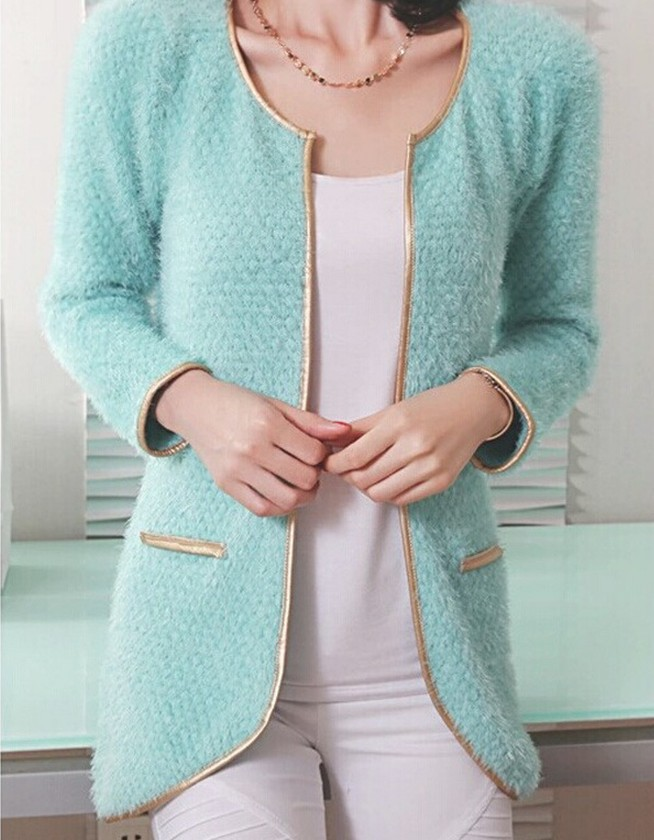 women winter Gold-rimmed knitted cardigans slim temperament long round neck woman yellow white solid color cardigan sweater(China (Mainland))