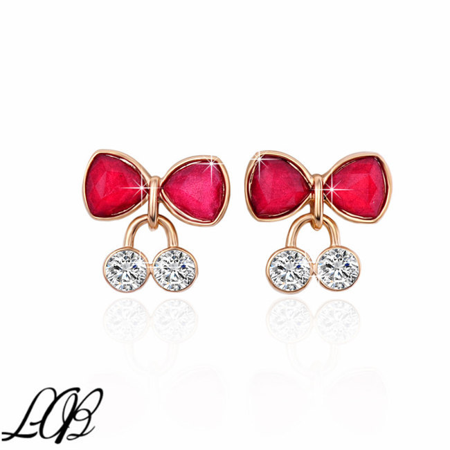 18k Gold Plated Alloy Stud Earrings for Women Cherry Rhinestone Filled Women Earrings Studs(China (Mainland))