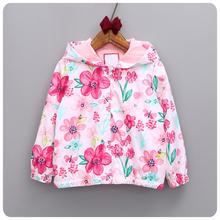 spring/autumn Children outwear flower girls Hooded jacket 2-6y school girls clothing Children Windbreaker Jacket (China (Mainland))