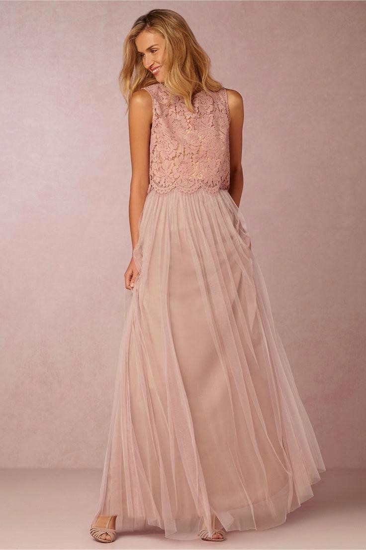 2016 Elegant Pink Lace Top Soft Tulle Long Bridesmaid