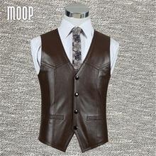 Black brown genuine leather vest 100%lambskin leather jacket men waistcoat business coat chaleco hombre colete LT602 Free ship(China (Mainland))