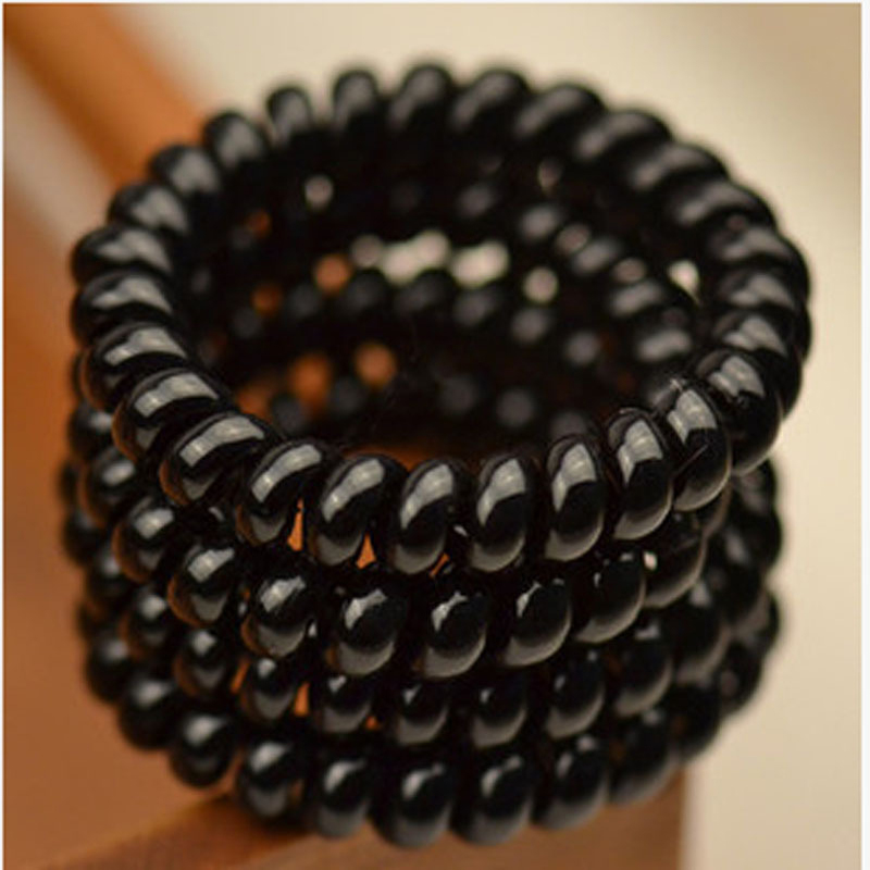 15Pcs Women Black Elastic Hair Bands Gum Telephone Wire Style Hairband Headbands Hair Ties & Plastic Rope Girls Hair Accessories(China (Mainland))