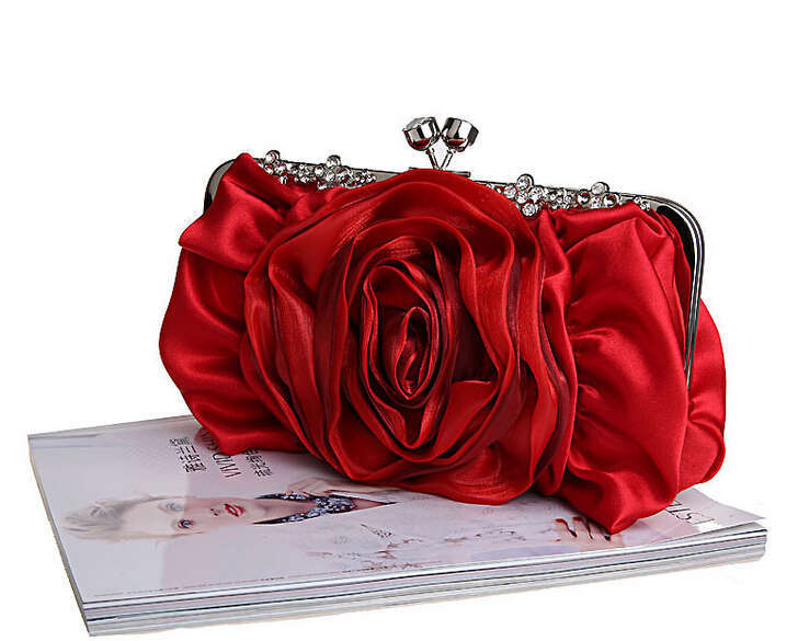 2015 NEW Red 3D Flower Design Style Lovely Women Flowers Satin Evening Bags Rose Clutch Purse Wedding Party Messenger Handbag(China (Mainland))