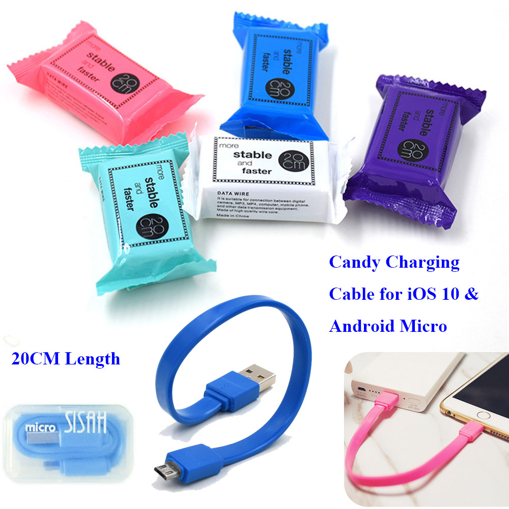 Colohas 20cm Candy Design Charging Cable for iPhone 7 6 6s Samsung S6 S7 Edge A3 Android Micro 8Pin USB Data Cable to Power Bank(China (Mainland))
