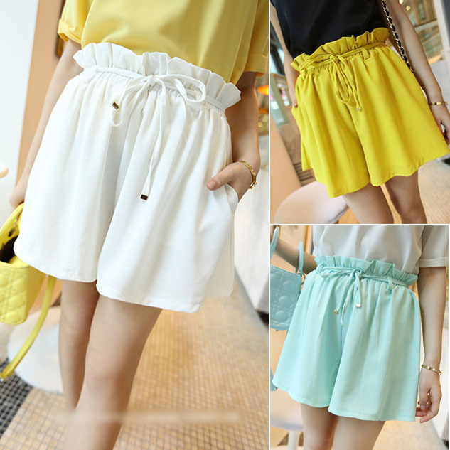 2013 New Arrive Women's Ladies Solid Empire Elastic Loose Culotte Summer Casual Shorts Pants Tousers 6 Colors Free Shipping 0844