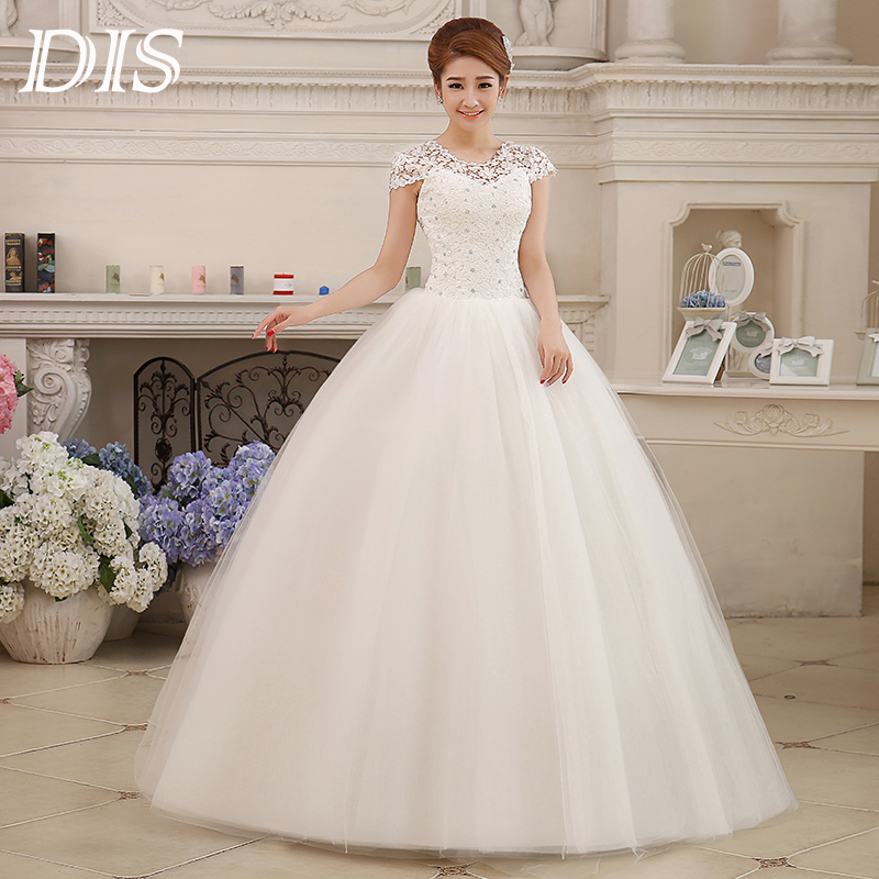 Custom size romantic lace wedding dress 2015 fashionable for Short wedding dress cheap