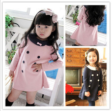 2016 New Spring Autumn Girl Dress Long Sleeve Double-breasted Baby Girl Princess Dress 2-7 Years Children Clothes Kids Clothing(China (Mainland))