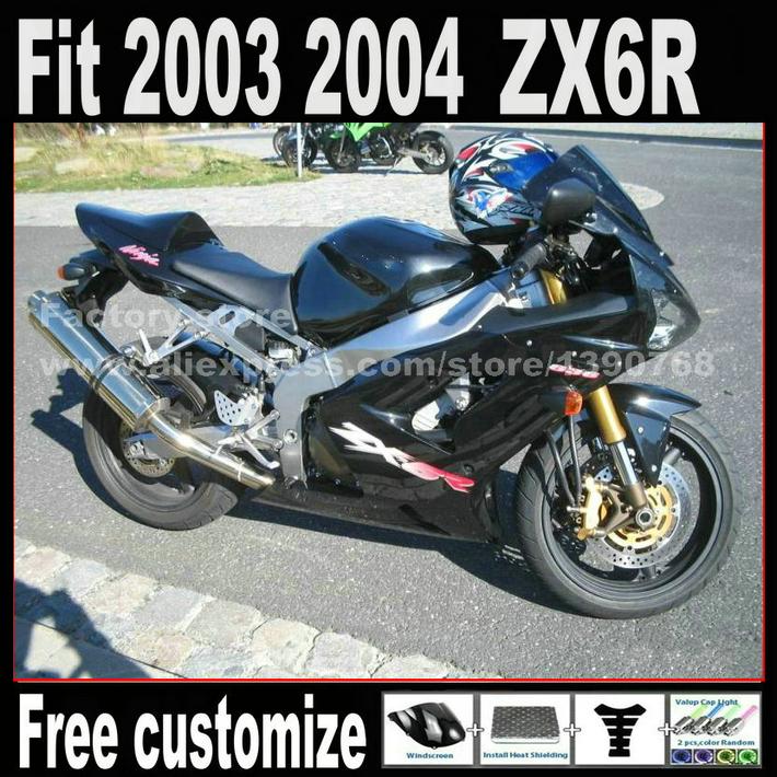 Personalizar el envío piezas de la motocicleta carenado kit para 2003 2004 Kawasaki ZX6R Ninja 636 negro 03 04 reparación de carrocerías juego de carenados AX4(China (Mainland))