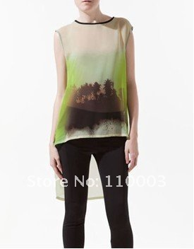 sunset shadows Ink printing long and short T-shirt  A626