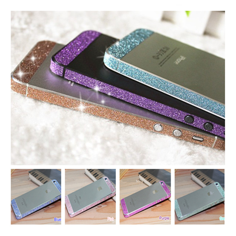 For iPhone 5 5s SE Glitter Bling Diamond Side Edge Rhinestone Deco Mobile Phone Bling Skin Sticker Cover For Apple 5 5s(China (Mainland))