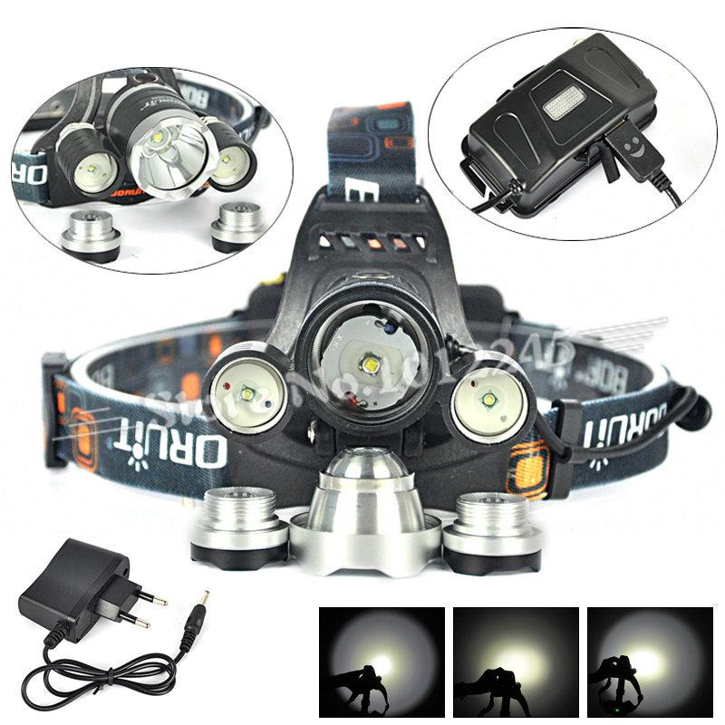 Гаджет  Boruit RJ-5000 XM-L T6+2R5 LED Linternas Frontales Cabeza 5000 Lumen Headlamp Flashlight 4-Mode Camp Head Lamp Light+Ac Charger None Свет и освещение