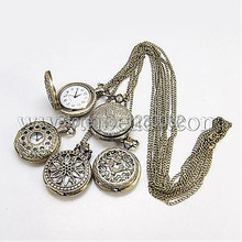 Fashion Iron Pocket Watches, with Brass Watch Head, Antique Bronze, 760mm(China (Mainland))