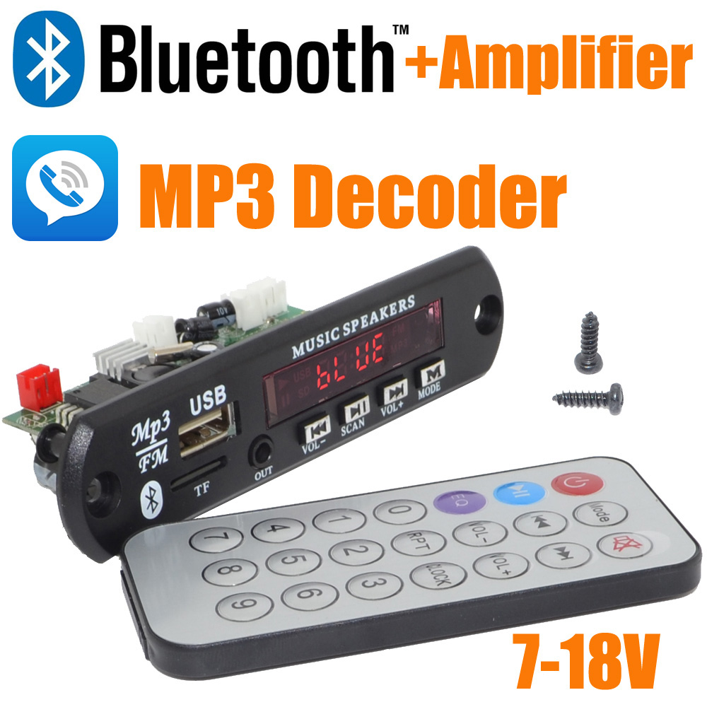 Brand New 5pcs/lot 12V Car Handsfree Bluetooth MP3 decode board with Bluetooth module and build in 2*3 amplifier board-10000657(China (Mainland))