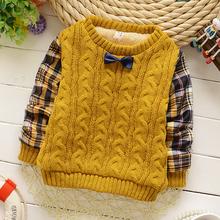 2015 Зима детская одежда о-образным вырезом бабочка рукав полной с плед мальчиков свитер утолщение теплый A101(China (Mainland))