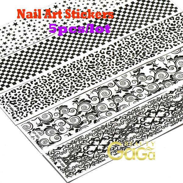 Beauty Nail 5designs /lot aAdesivos Personal & Salon Mix Designs Nail Art Decals Holiday Fingernail Tattoo Stickers Nail(China (Mainland))