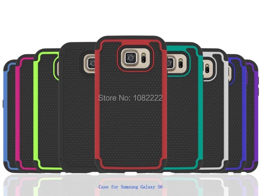 100pcs/lot Free Shipping New Football Design 3 in 1 Silicon +PC Hybrid Back Cover For Samsung Galaxy S6 G9200(China (Mainland))