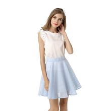 2016 Summer Style Hollow American Apparel Blue Skirt Cotton High Waist Adult Women Ladies Girls Office Short Skirts