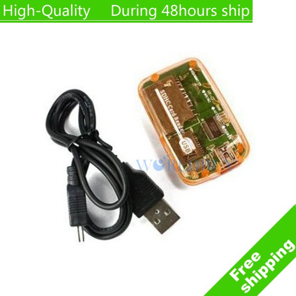 High Quality SD MS USB COMPACT FLASH TYPE I II MEMORY ALL IN 1 Multi in 1 CARD READER Free shipping(China (Mainland))