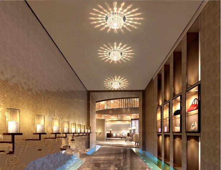 Modern 3w led crystal lamp light hallway corridor balcony for Balcony pop design