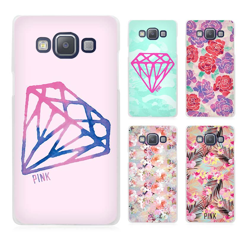 Diamonds Pink Clear Transparent Cell Phone Case Cover for Samsung Galaxy A3 A5 A7 A8 A9 2016 2017(China (Mainland))