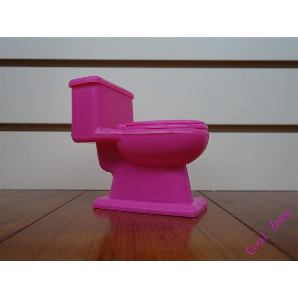 Miniature Furnishings Pink Toilet Set for Barbie Doll Home Faux Play Toys for Lady Free Delivery