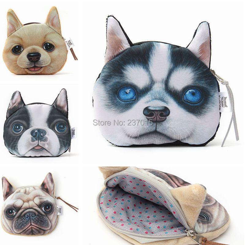 Гаджет  New Lovely Dog Face Zipper Case Coin Purse Wallet Makeup Buggy Bag Pouch  None Камера и Сумки