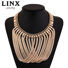 LINX Fashion Luxury Gold Plated Necklace Gold Long Tassel Choker Statement Necklaces Women Jewelry QT020(China (Mainland))