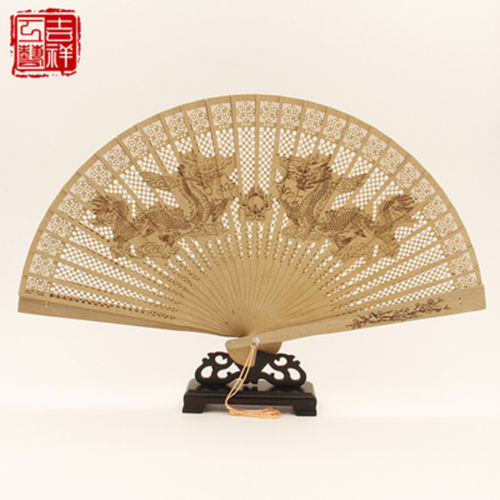 2 pieces Chinese Handmade Classical Sandal Wood Fragrant Hollow Folding Bamboo Fan Dragon patten(China (Mainland))