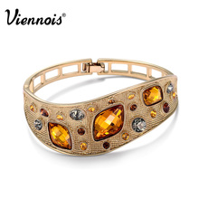 Viennois Fashion Jewelry Coffee Gold Plated Alloy Woman Vintage Bangles with Top Austrian Rhinestone Orange Crystal(China (Mainland))