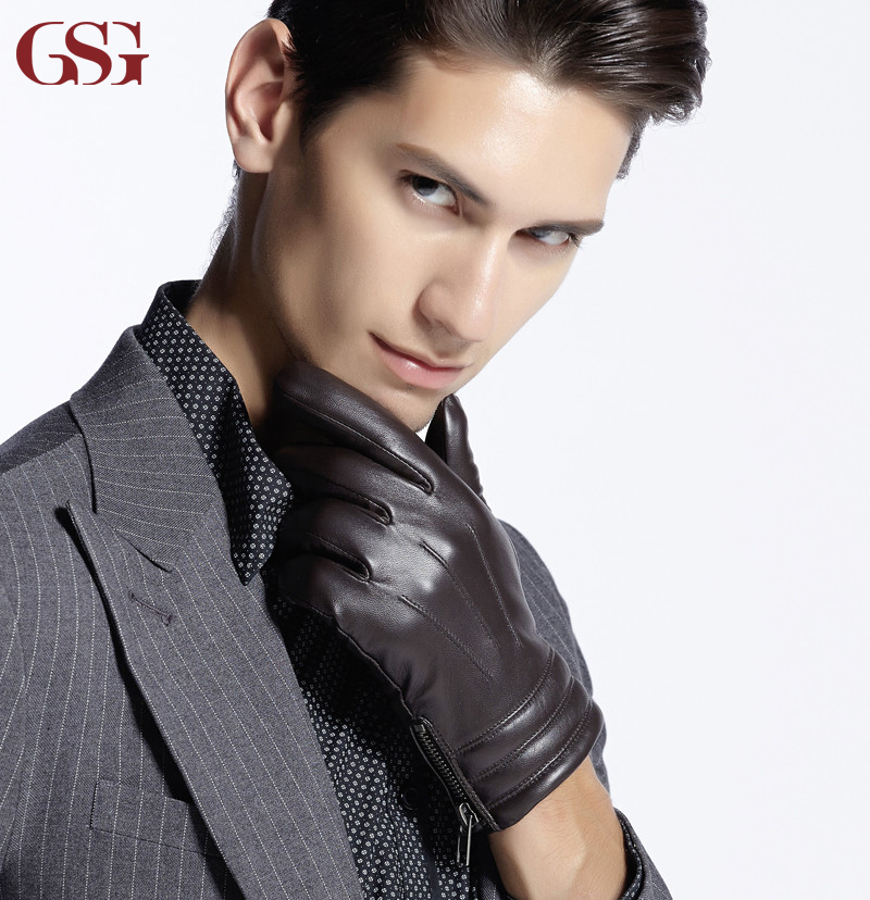 Dark Brown Color Mens Leather Gloves New Designer with Side Zipper And Strip Cuff winter warm(China (Mainland))