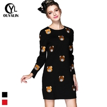 Buy S-5XL Women Plus Size Dress Ladies Cartoon Embroidery Long Seeve Dress Spring Knee-Length Casual Straight Dresses Q212 for $51.19 in AliExpress store