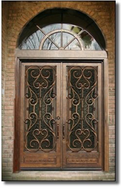 Red color for lm 016 iron doors glass doors with transom design for church in doors from home for Exterior glass doors for churches
