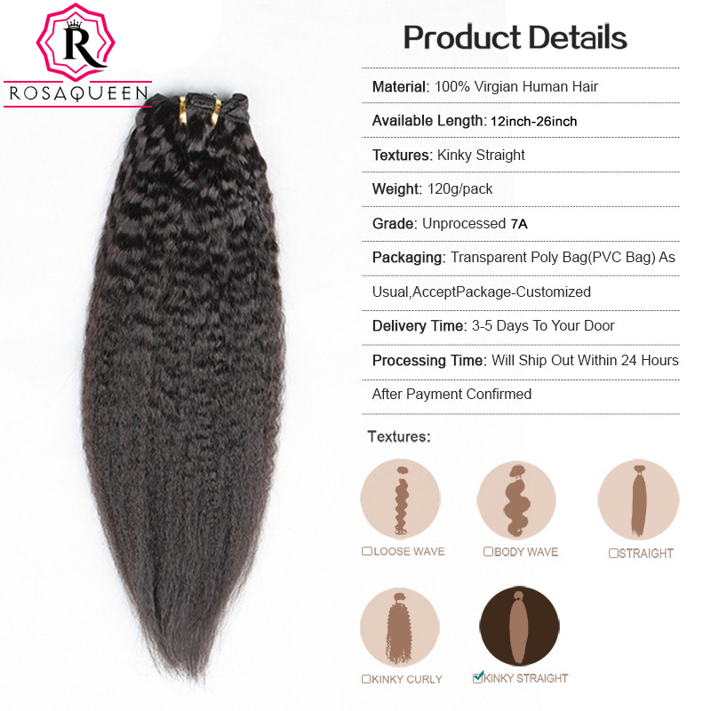 Kinky Straight Clip In Human Hair Extensions African American Italian Coarse Yaki Clip In Hair Extensions Natural Hair Clip Ins