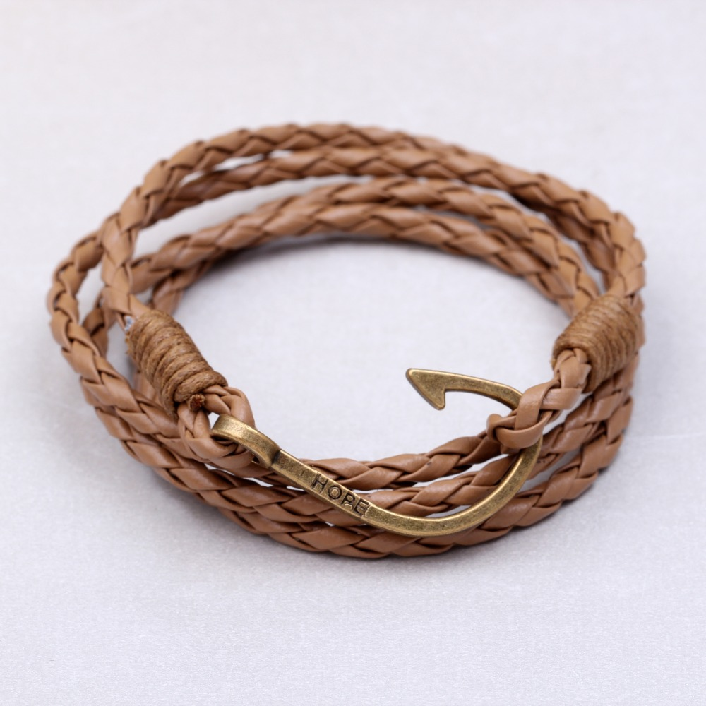 New pulsera Mens bracelets 2015 jewelry anchor bracelet Men Pulseras Hombre men leather bracelet Christmas gift