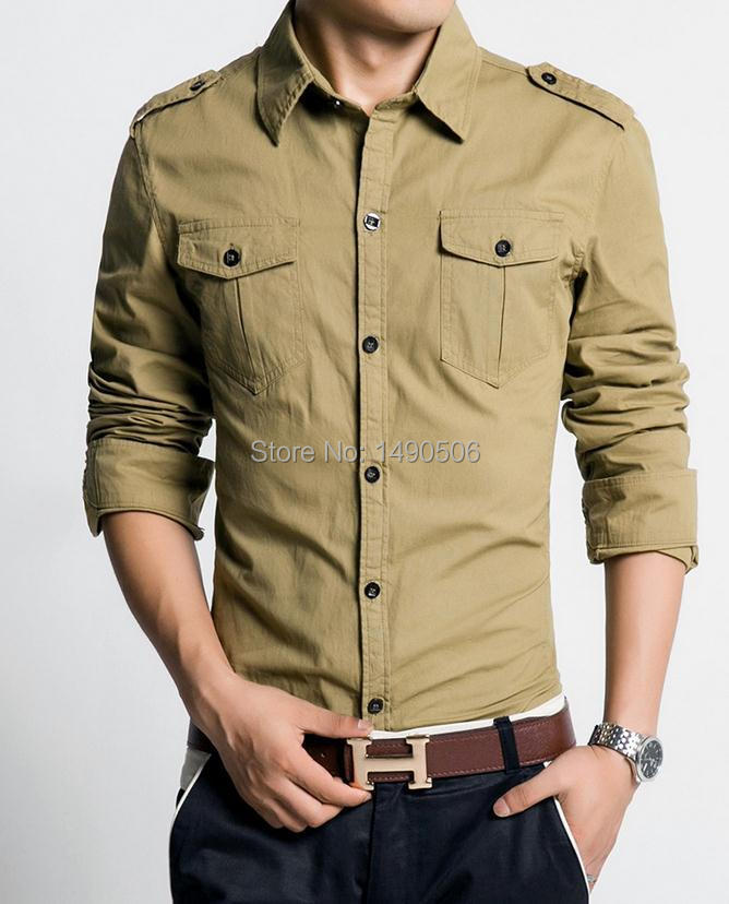 New men 39 s shirts military style long sleeved shirt the for Mens military style long sleeve shirts