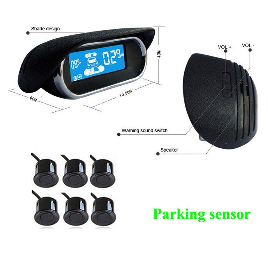 Car wireless parking sensor with LCD display 6 sensors 6 color buzzer alarm Parktronic Car Reverse Radar Rear view auto detector(China (Mainland))