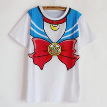 2015 new Hot Sailor moon harajuku t shirt women cosplay costume top kawaii fake sailor t shirts girl new Free Shipping