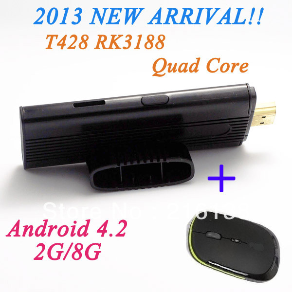 Perfect Partner! RK3188 android quad core media player wifi 1.8Ghz internet tv + Wireless mouse with free shipping