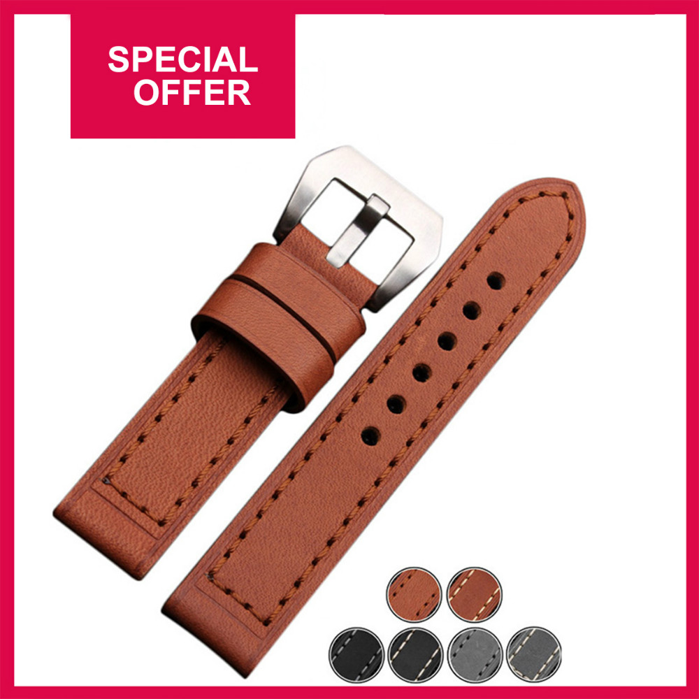 Special Offer Handmade Genuine Leather Watchband Watch Straps 20mm 22mm 24mm 26mm With Silver&amp;Black Buckles<br><br>Aliexpress