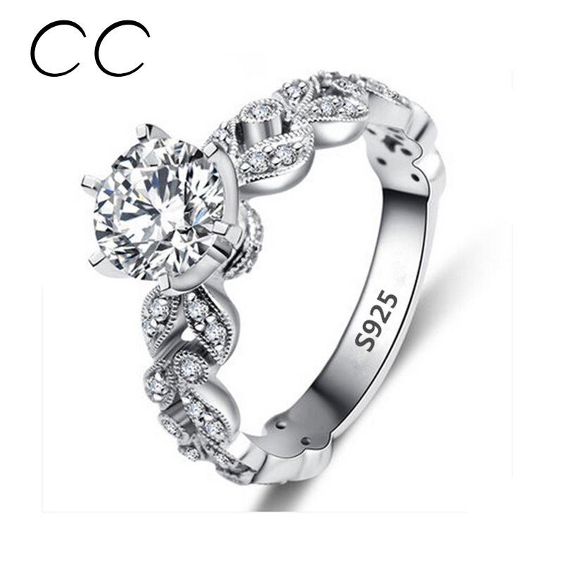 Carat Zirconia Wedding Engagement Rings For Women White Gold